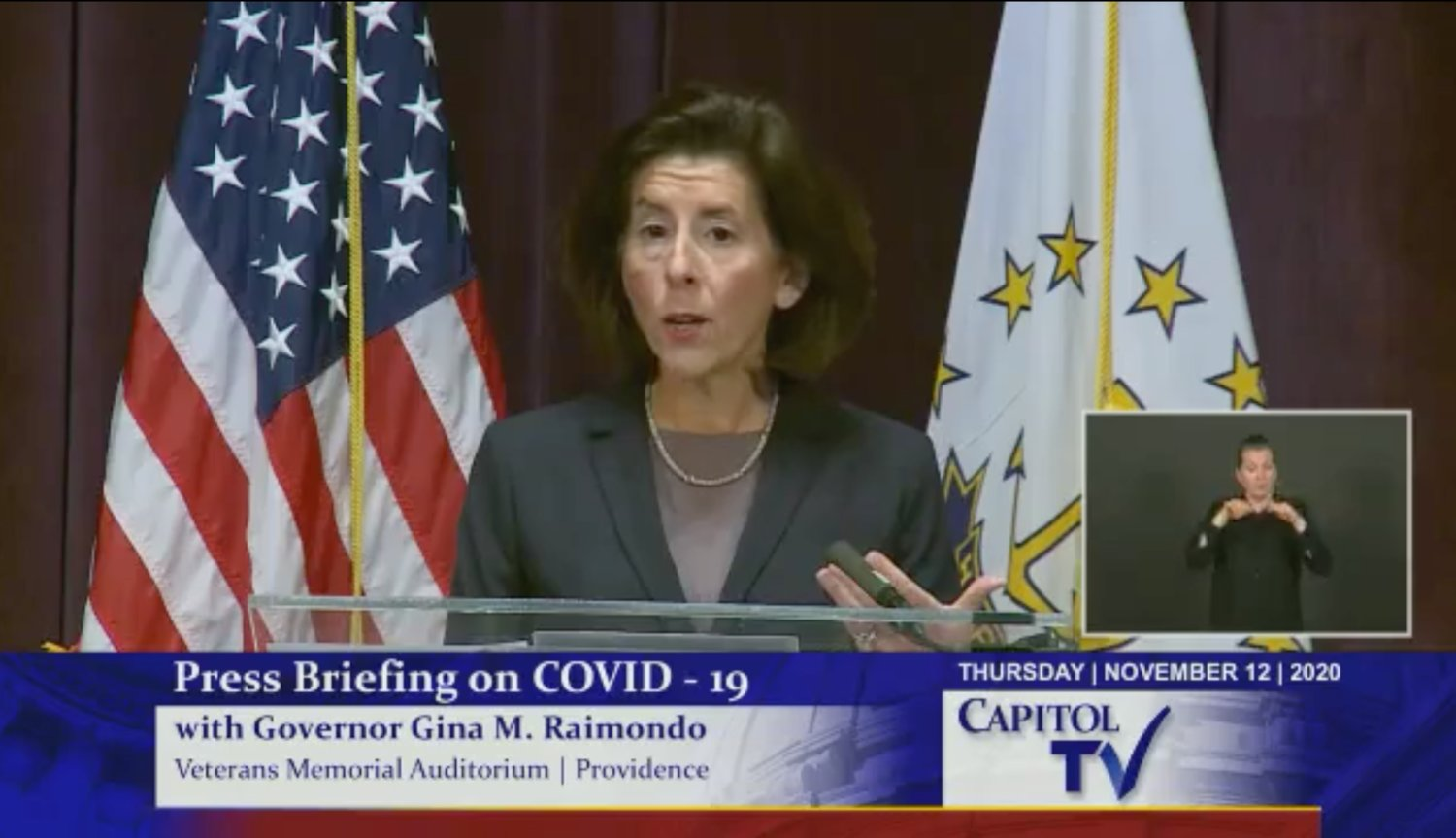Gov. Gina Raimondo, speaking during a Nov. 12 briefing.