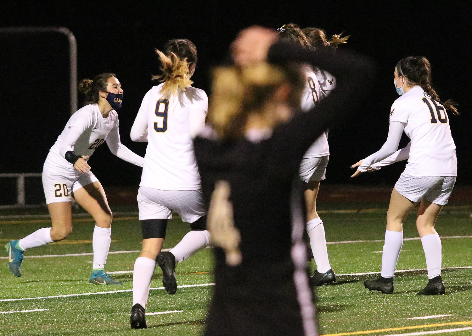 Barrington High School teammates celebrate after Tess Gagliano scored to even the game at 1-1.