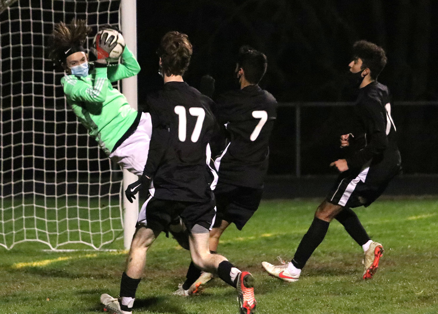Ryan also had a big save in the wee minutes of regulation for Pilgrim. Tamulaites lofted a direct kick from 25 yards out as Brol, Jayden Terra and Noah Furtado charged the Patriots goal.