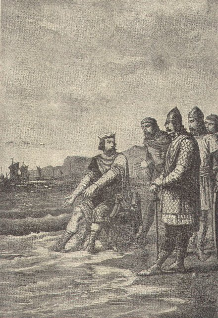 King Canute orders the tide to stop.