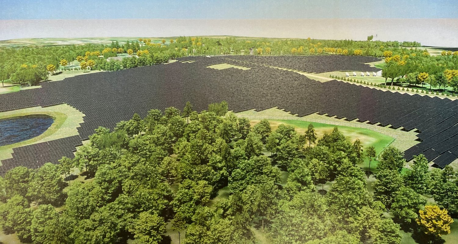 An artistic rendering of what the former Windmill Hill Golf Course would look like following its transformation into a seven-megawatt solar power generating facility. The image was taken from TurningPoint Energy's Planning Board application, on file with the town.