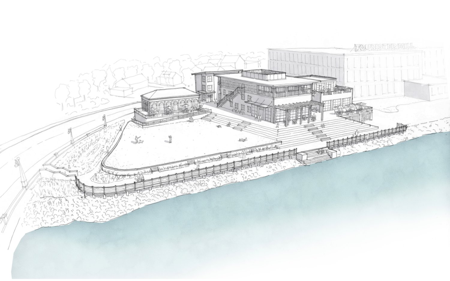 A current architectural drawing shows the proposed site plan at the town's gateway center in North Warren. The site includes at least two buildings, a terrace, riverwalk and public amenities.