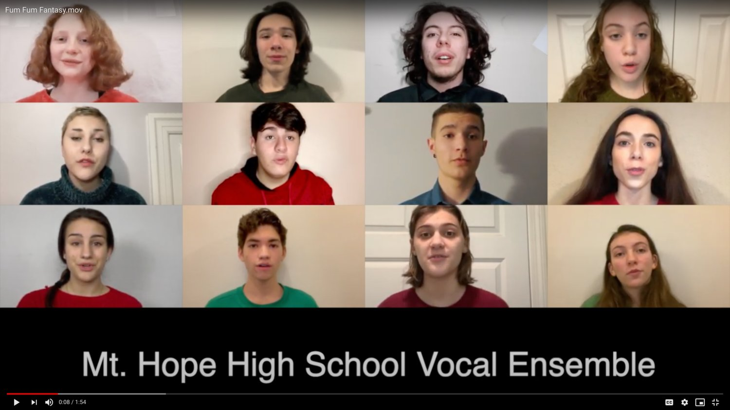 A screenshot from the show, with Mt. Hope students singing in virtual harmony.