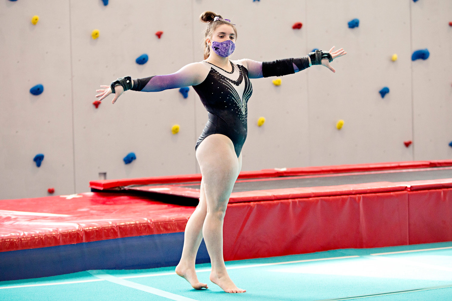 Reese Pavao performs on floor, earning an 8.35 on the event, at the Regional State Championships, held at the Newport YMCA Saturday.