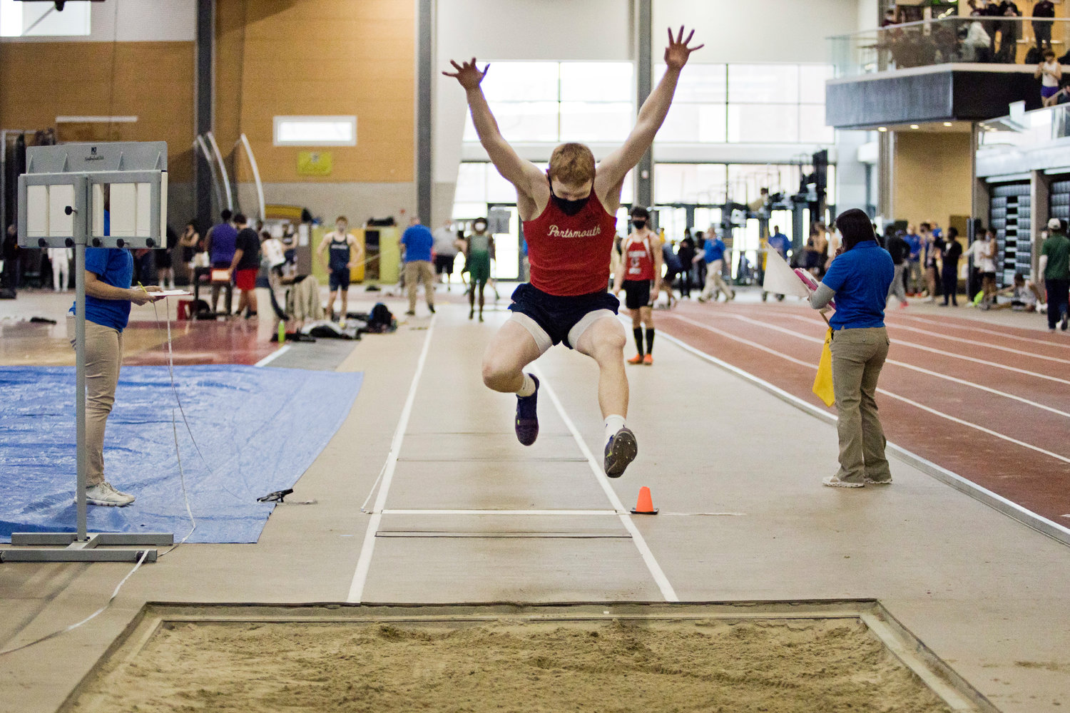 The Patriots' Colby Fahrney won the boys' long jump event at the Rhode Island Indoor Track State Championship Saturday at the Providence Career & Technical Academy. His best leap was 22 feet, 1.75 inches.