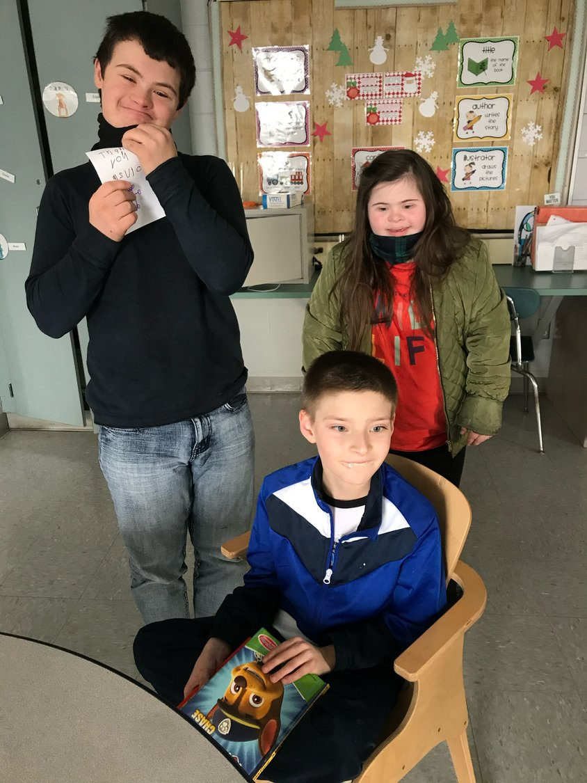 Among Ms. Keith's students at the Kickemuit Middle School are (from left) Mason Conte, Jason Frazier and Paige Gauthier.