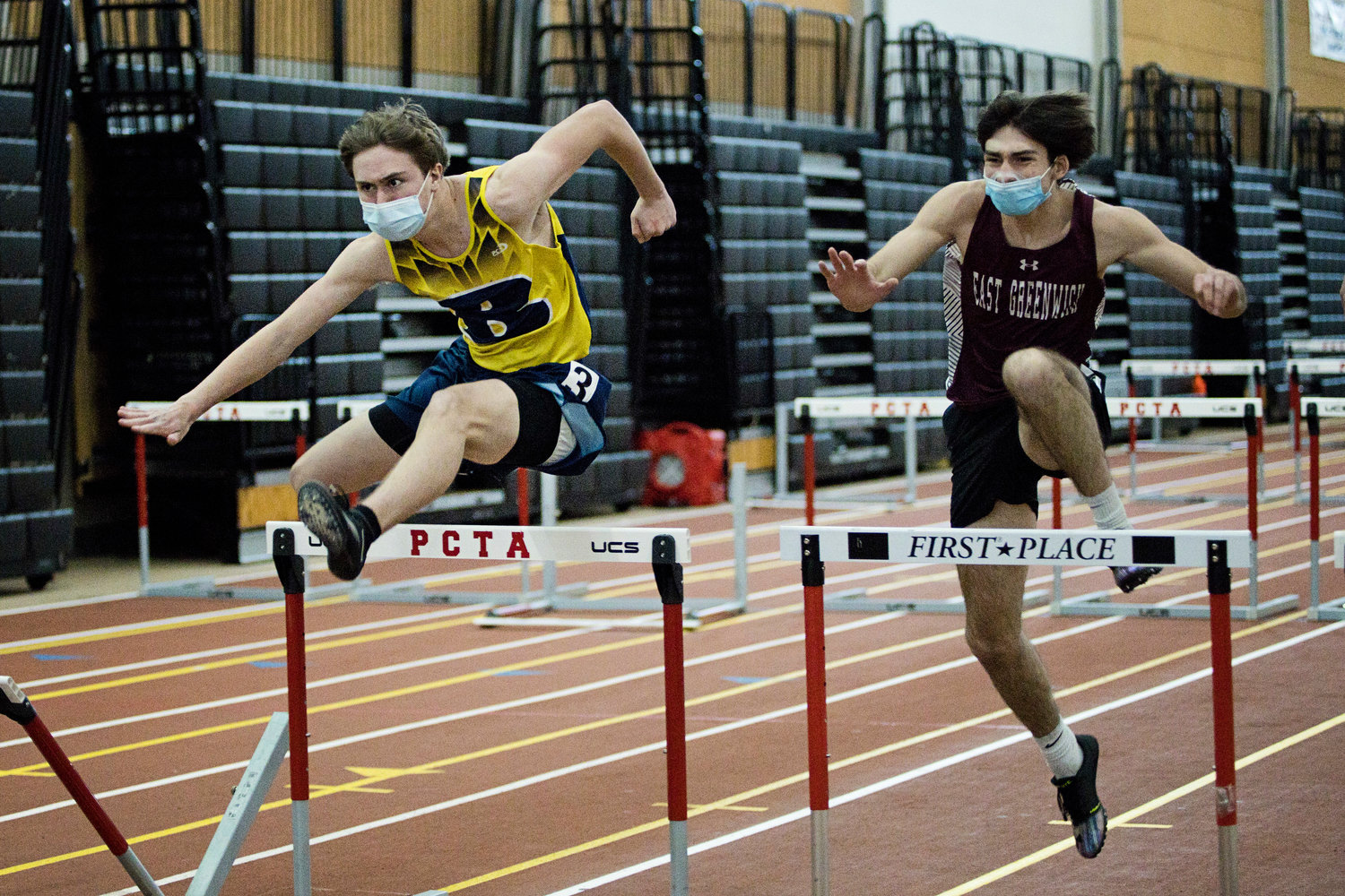 Barrington's Jackson Duffy competes in the boys 55 Meter Hurdle event at the Indoor Track State Championships, Saturday.