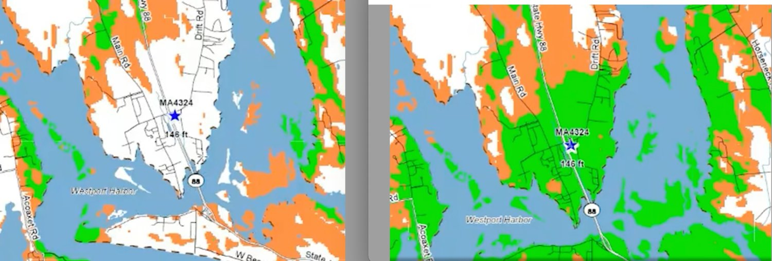 Map, provided by the applicant, shows AT&T coverage in south Westport (good coverage is green) at present (left) and with a new tower.