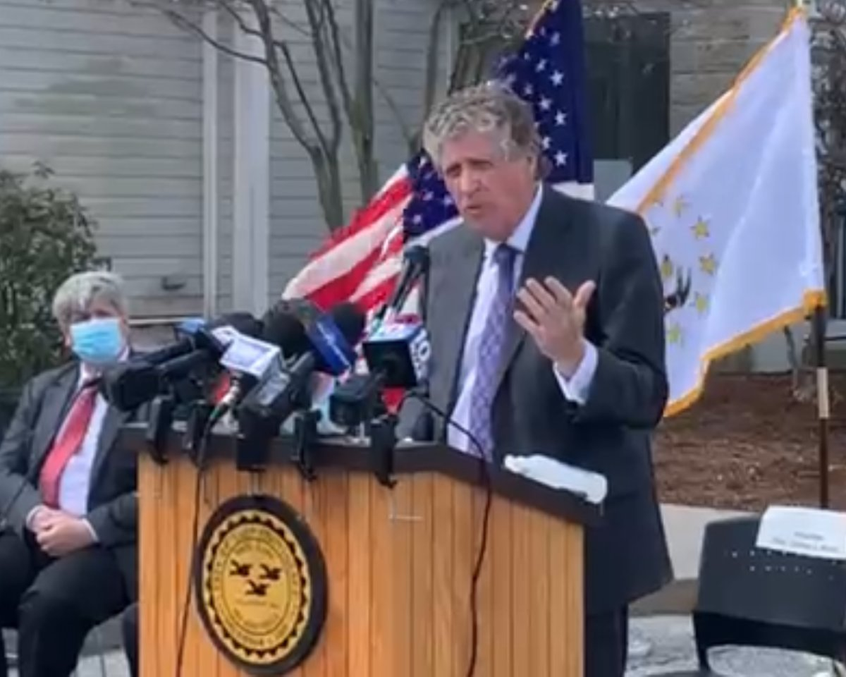 Gov. Dan McKee announces East Providence as a regional COVID-19 vaccination site for most of the East Bay area during a press event Wednesday, April 7.