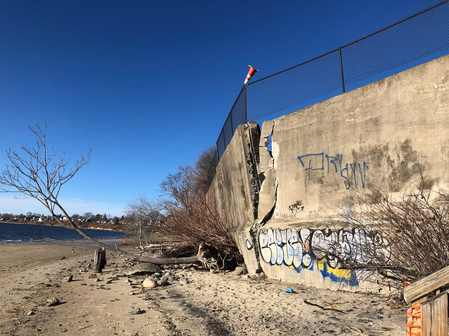 A recent view of the damaged seawall in Riverside at Rose Larisa Park.
