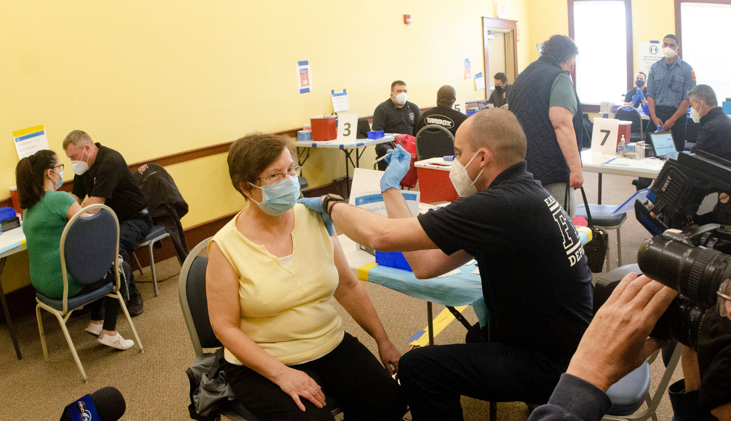 People received Covid-19 vaccinations at a regional vaccination site in East Providence.