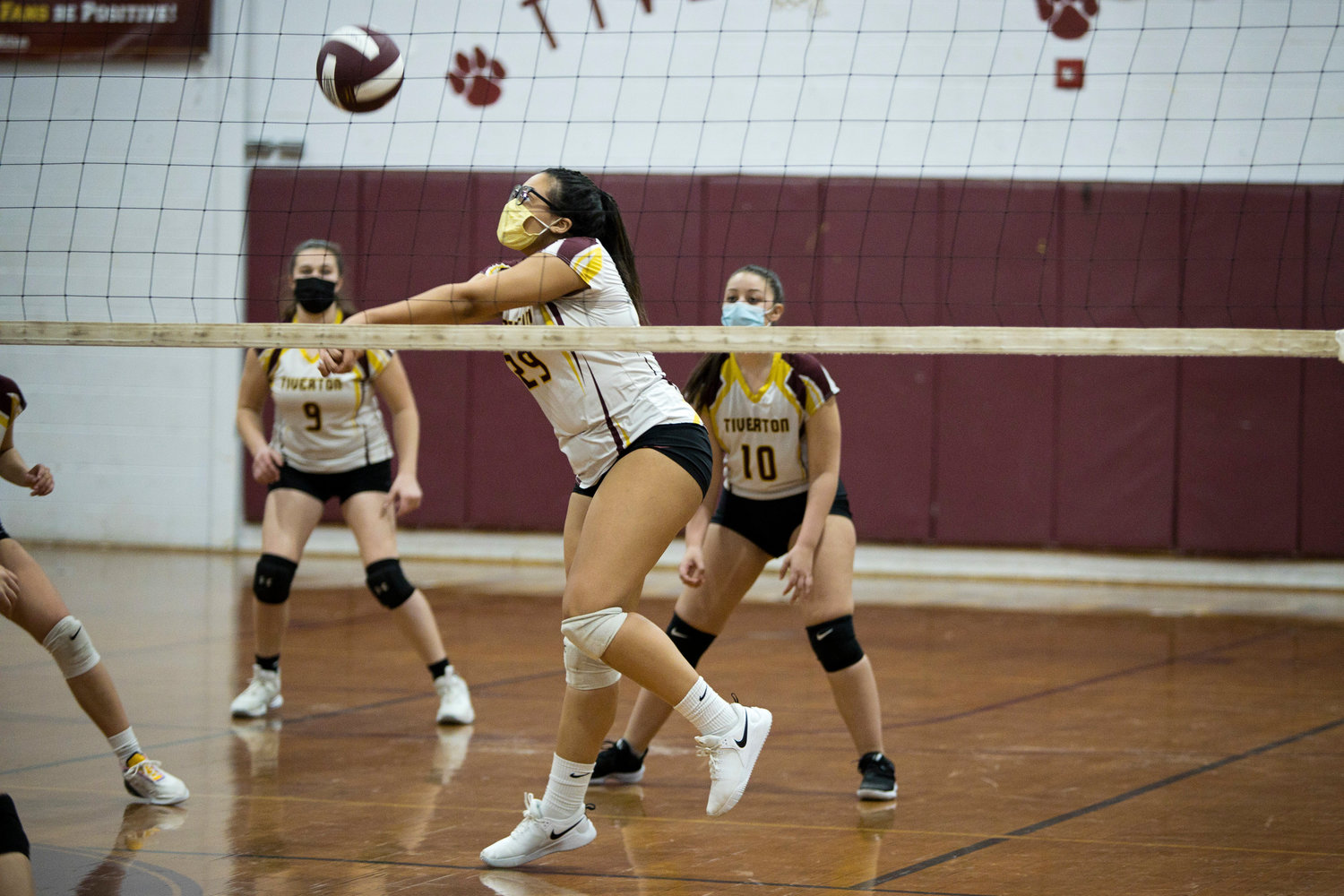 Olivia Miranda bumps the ball to a teammate during Friday against Times Two Academy.