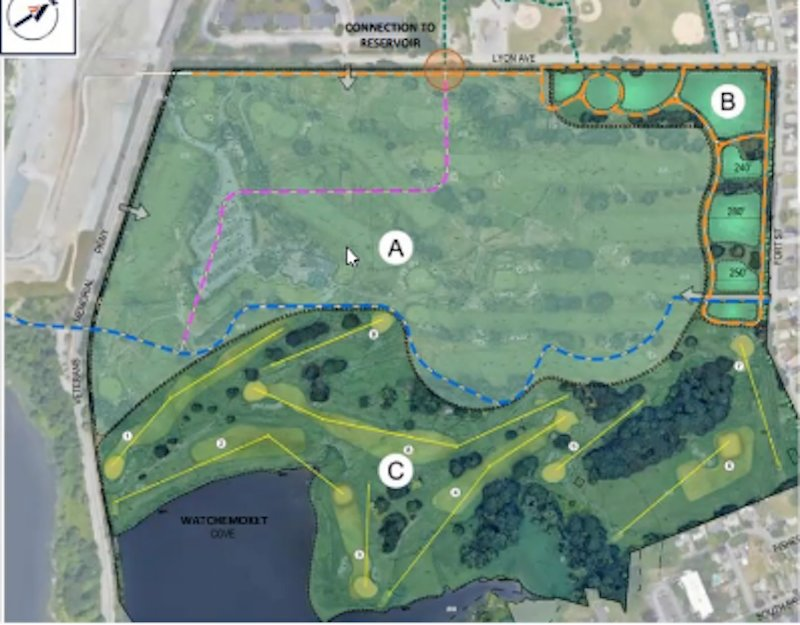 Slides presented by Marshall Properties to the East Providence City Council April 21 of the company's plan to redevelop the 138-acre Metacomet Country Club, the latest version including the retention of a 9-Hole golf course open to the public.