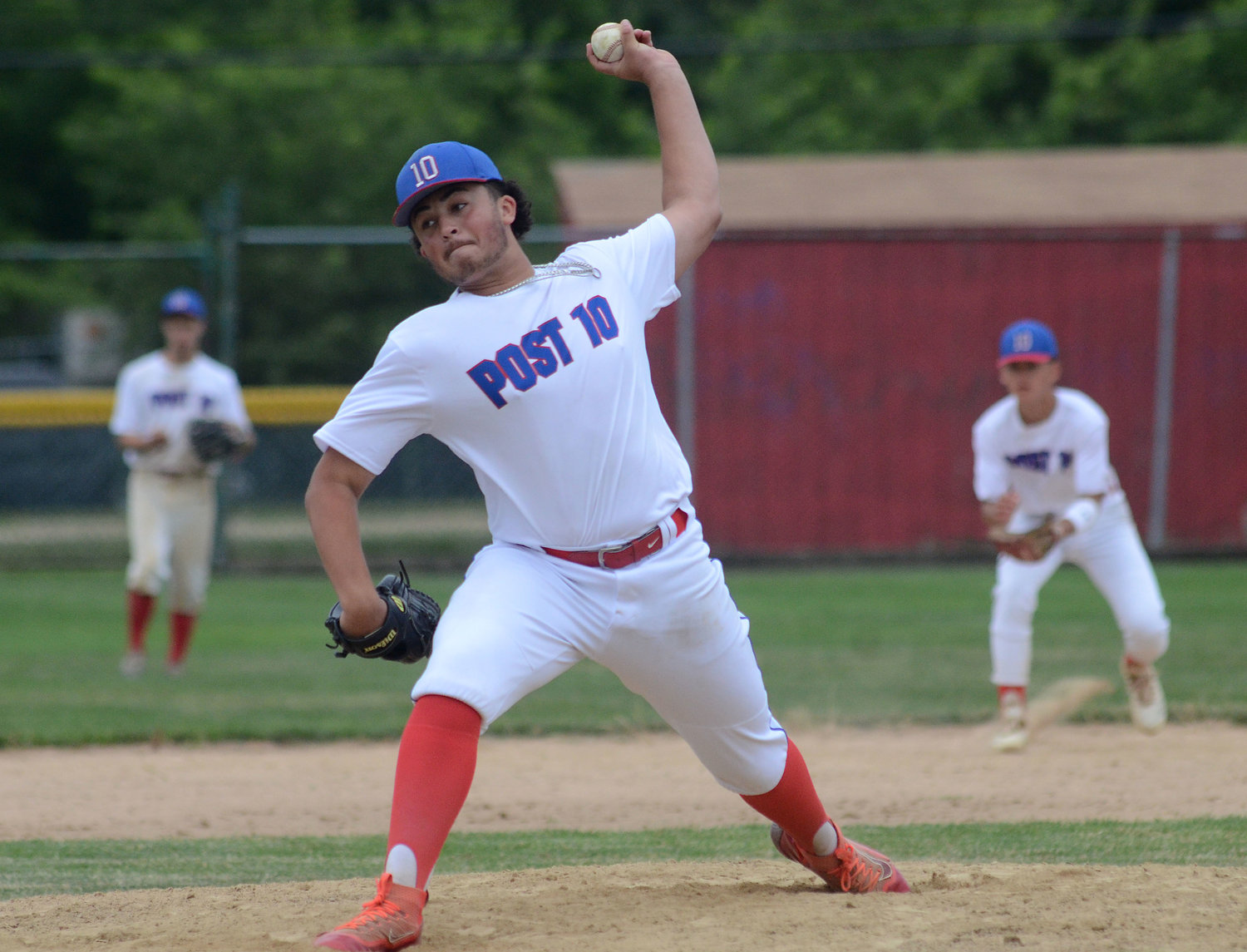 Eli Barber, shown during a Riverside Post 10 Junior American Legion game last summer, is the No. 1 starting pitcher for the EPHS baseball team as the Townies ready to open the 2021 season.