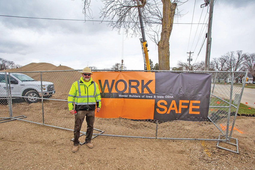 WORKSAFE -- The Dean Snyder Construction Project Team out of Clear Lake, currently in the process of building the new Kwik Star in Emmetsburg, has partnered with OSHA and Construction Safety Specialists, Inc., enrolling in WORKSAFE to ensure safe construction practices. Pictured, Dean Snyder proudly displays the new partnership.