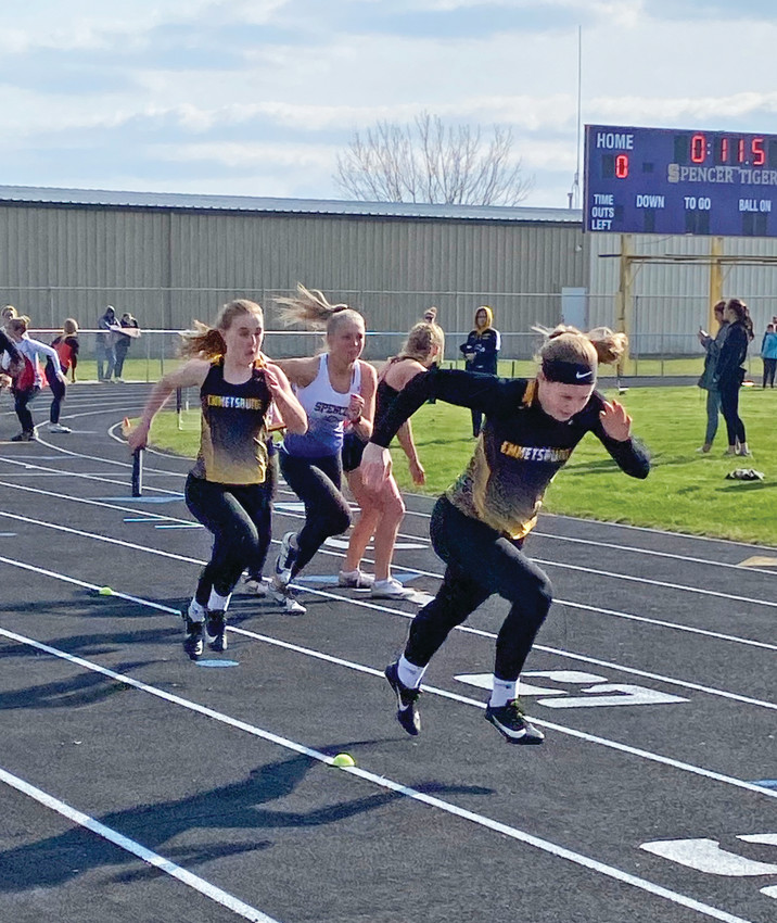 THE CHANGEOVER -- Abbie Schany readies for the handoff during Thursday's relay at the Spencer Invitational. The Lady E-Hawks would earn second place on the day.