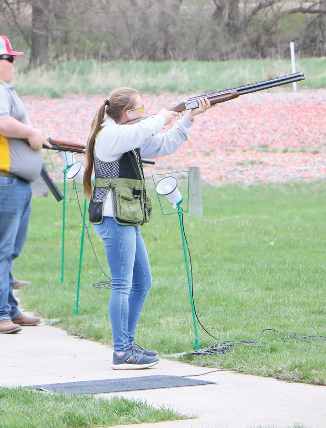 THE HOT SHOTS INVITATIONAL was held Saturday. Pictured, Anika Stearns takes down a target. Results will be posted in Thursday's The Democrat.  -- Joseph Schany photo