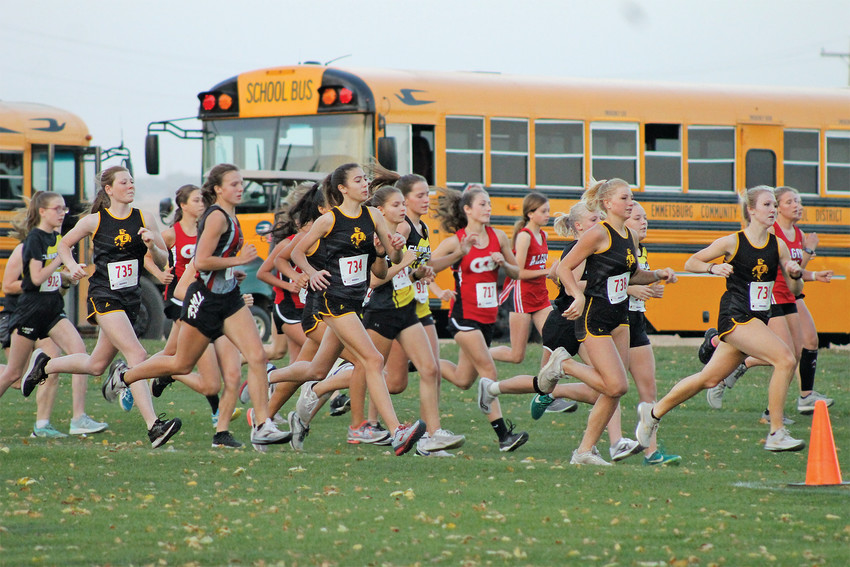 SECOND PLACE -- The E-Hawk varsity girls would earn a second place finish in Class A of the Dick Bell Invitational in Eagle Grove on Tuesday. Pictured, Emmetsburg runners (from left) Allison Fischer, Isabel Doyle, Taylor Steinkamp, and Izzy Householder pick up speed in the early stages of the race. Householder would place second in 22:01.