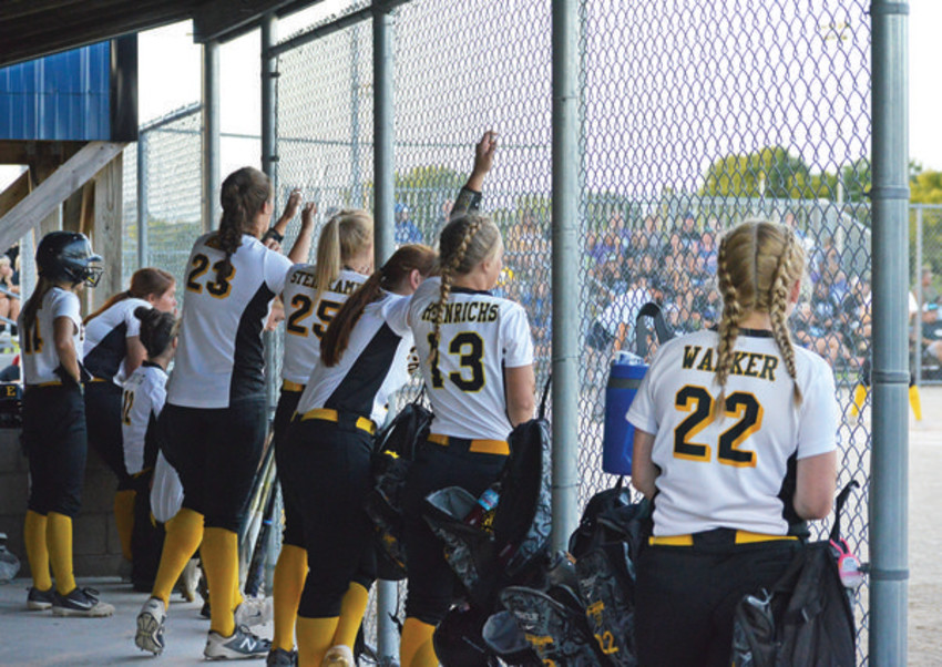 THE HEARTBREAK - The Lady E-Hawks watch the final at bats from the dugout during the 4-1 Class 2A Regional Championship loss on Monday. Emmetsburg swept the first two postseason contests with double-digit wins before heading to Central Springs High School in Manly. The Lady E-Hawks finish the season at 13-3 overall.             -- Joseph Schany photo