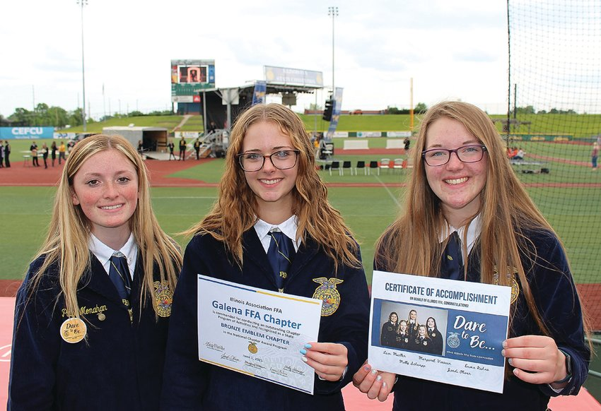 From left, freshman Paige Monahan, junior Taylor Jones and Aly Anderson representing the chapter, which applied for the National Chapter Award Application for the first time and was recognized as a Bronze Chapter.