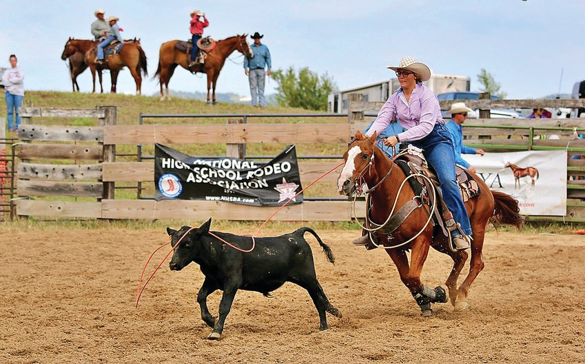 Garrett Pickel competes at the National LIttle Britches Rodeo in July. Garrett, along with her brother, Keaton, spent two weeks in Guthrie, Okla., competing at the event.