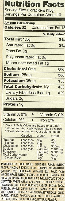 These nutrition facts tell the story of two different crackers.