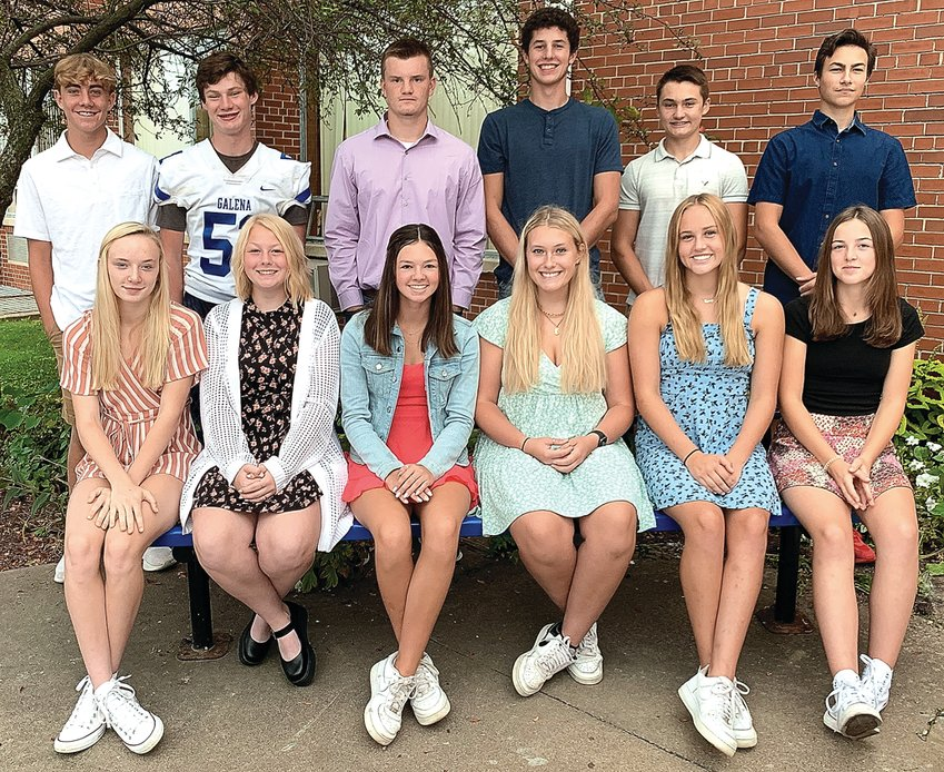 It's homecoming week at Galena. Members of the court include, back row, from left: freshman Parker Studtmann; sophomore Lucas Duggan, seniors Carson Miller, Jarrett Basten and Scott Dodds, and junior Hayes Noble; front row: freshman Gracie Furlong, sophomore Emma Blaum, seniors Madisen Glasgow, Natalie Stangl and Sydney Einsweiler, and junior Ayden Wells. The parade is Friday at 4 p.m., followed that evening by the football game against Forreston. The dance is Saturday evening. Hillary Dickerson photo