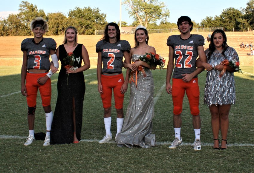 This year's homecoming royalty included — from left, Loren Snead, Gracie Menasco, King Sawyer Webb, Queen Addy Tunstall, Luke Rogers and Kami Pineda.