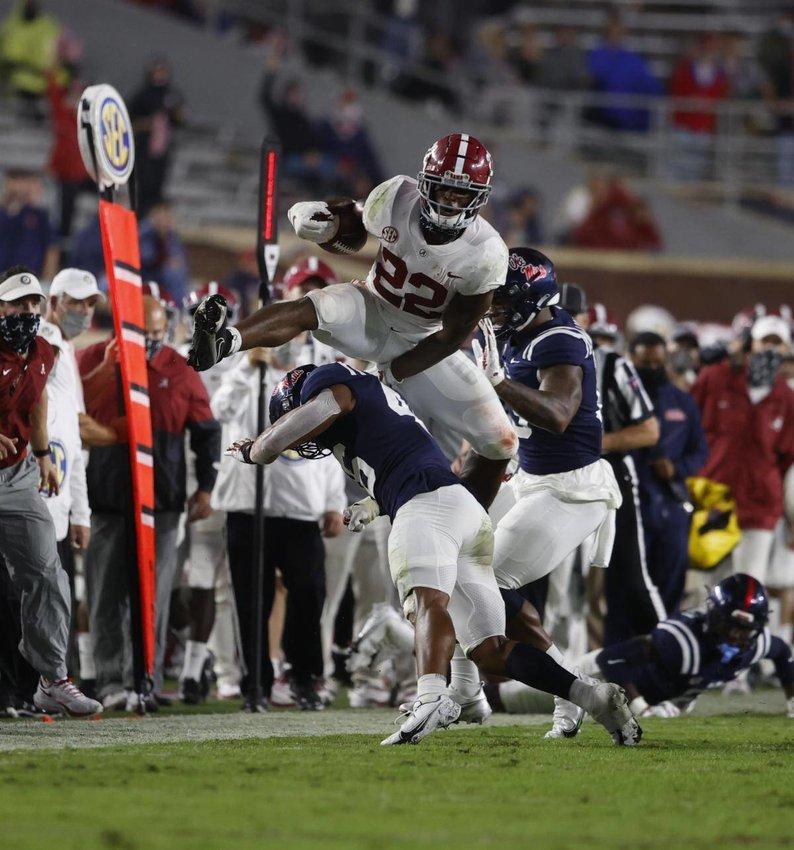 Senior running back Najee Harris- RB – Alabama gashed the Rebel defense for 206 yards rushing and five touchdowns on 23 carries.