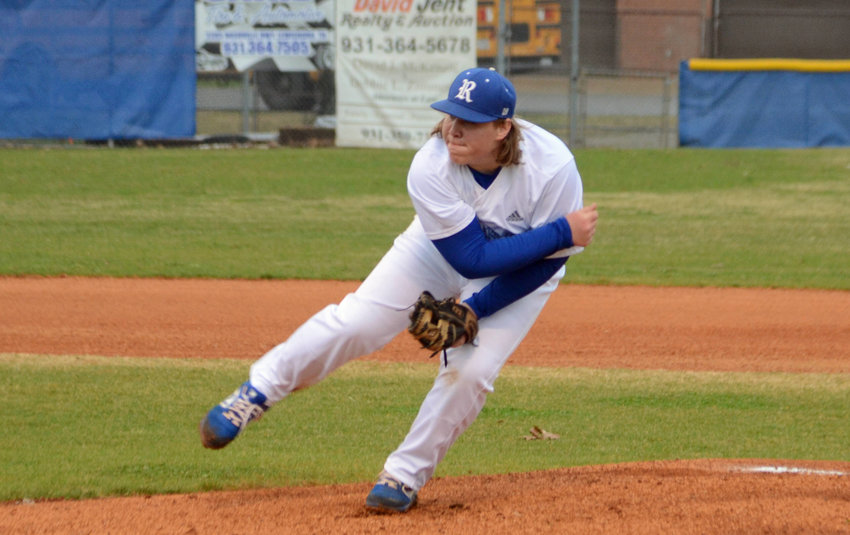 Luke Allen (25) picked up the win on the mound for the FMS, who beat LMS 7-3 Friday night at Chapel Hill.