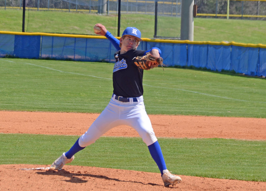 Forrest freshman Preston Gentry came on for an injured Braden Bowyer in the third inning and picked up the win on the mound for the Rockets, who came back to beat the Page Patriots 8-7 at Chapel Hill Friday night.