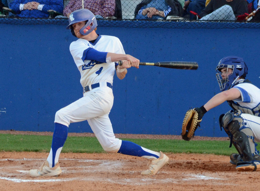 Forrest senior Cannon Cervantes had another huge game for the Rockets, going 2-for-2 at the plate with two runs scored and a pair of stolen bases while picking up the win in relief on the mound in a 9-5 win over Marshall County Monday night at Chapel Hill.