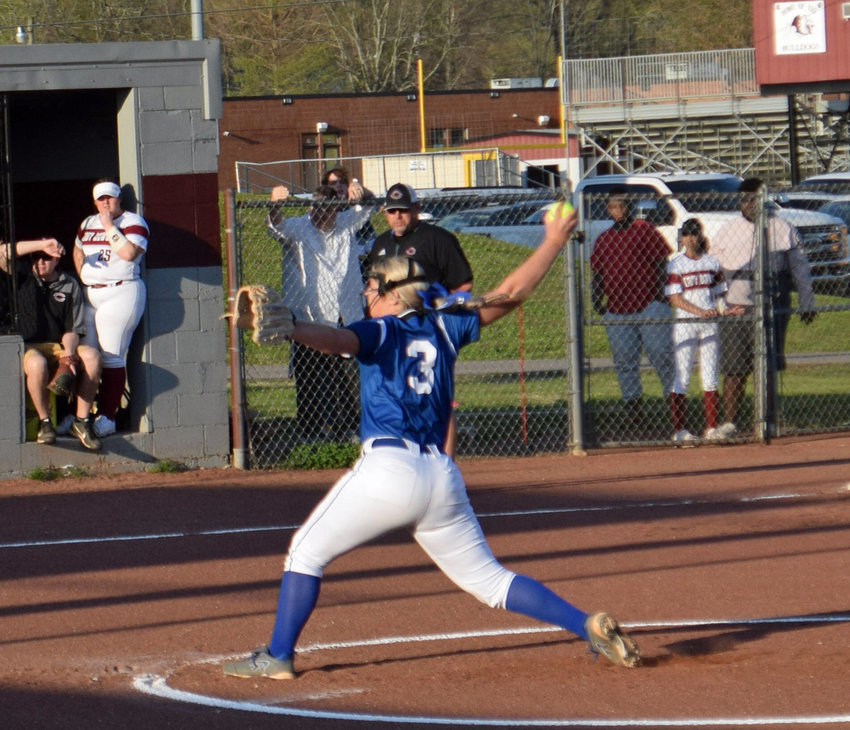 Marshall County pitcher Taylor Pickle (3) picked up the win in the circle for the Tigerettes Monday night at Cornersville.