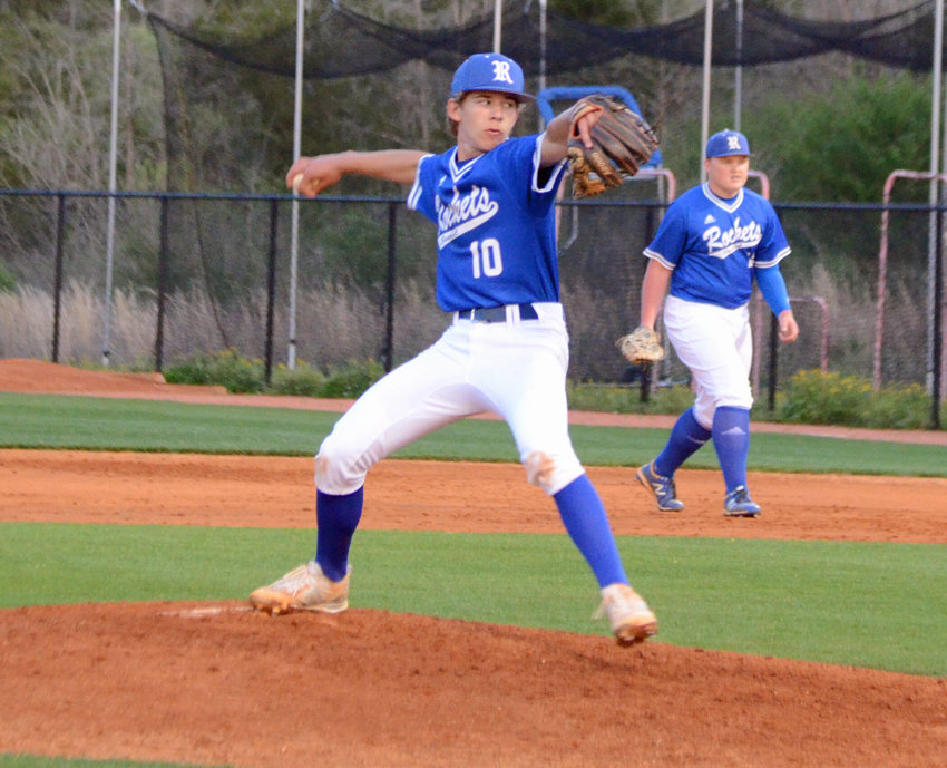 Forrest freshman Preston Gentry took the ball for the Rockets at Nolensville Monday night and turned in a solid performance, giving up just two earned runs on six hits in 4.1 innings of work on the hill in a tough 7-1 loss.
