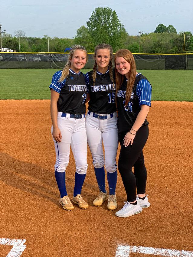 The Marshall County Tigerette seniors from left are Tatum Garrett, Abby McGehee, and Riley Lentz.