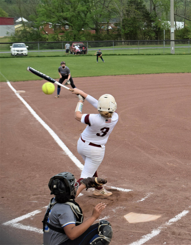 Cornersville's Alicia Polk (3) was injured after slamming a two-run double in the first inning in the Lady Bulldogs' 10-6 loss to Shelbyville Tuesday night.