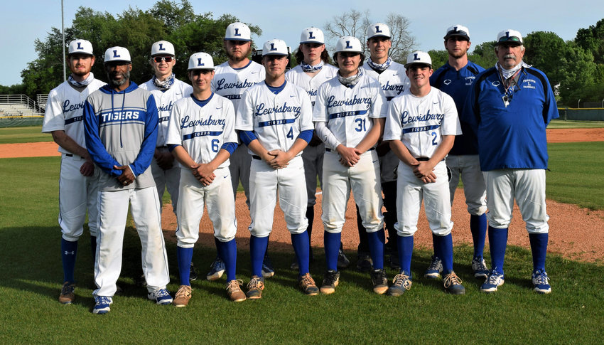 """Honored at Senior Night at Joe George Field in Lewisburg on Friday are, front row from left, assistant coach Ryan Henry, Peyton Graves, Caleb McElhaney, Blake Moreland, Ryan Kirby, and head coach Mike """"Monk"""" Reese. Back row from left are, J.W. Beasley, Caleb Grooms, Logan McKnight, Christian Stacy, Bryson Whaley, and assistant coach Aaron Hobbs."""