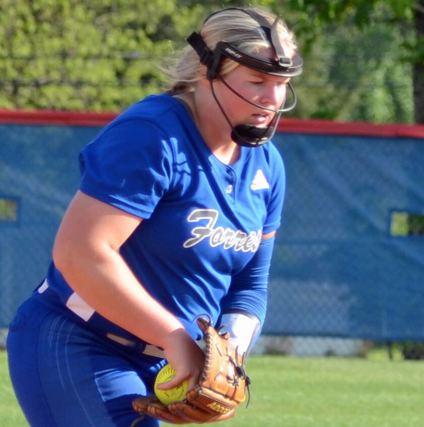 Ashley Milligan turned in another outstanding performance Wednesday night at Chapel Hill, tossing a two-hitter and striking out 16 as Forrest beat Eagleville 4-1.