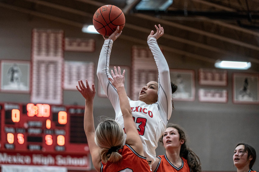 Mya Miller in action last season. The Mexico senior gave a verbal commitment to Columbia College. [Eric Mattson]