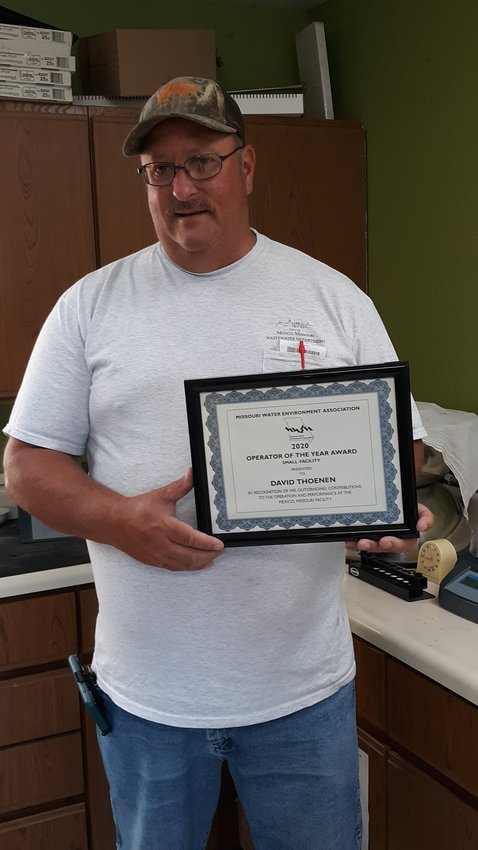 David Thoenen, supervisor at the Mexico wastewater treatment plant, was recently honored by a state association. [Submitted photo]