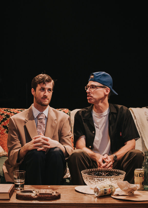 Steve Case as Felix Ungar and Carl Abbott's Oscar Madison discuss the state of their lives in a scene from The Odd Couple. [Submitted Photo]