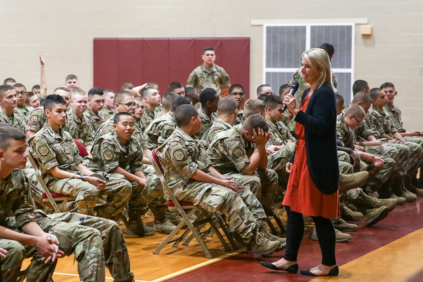 Dr. Amanda Gowin talks with Missouri Military Academy cadets about mental health wellness. [Submitted Photo]
