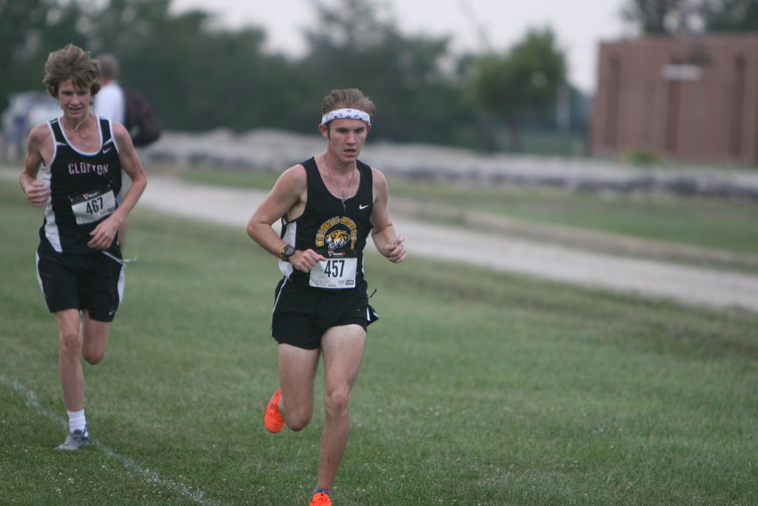 Wellsville-Middletown senior Layne Norris competes in the second mile of the boys race at the Van-Far Invitational on Sept. 7 at Van-Far High School. He finished seventh with a 20:21.