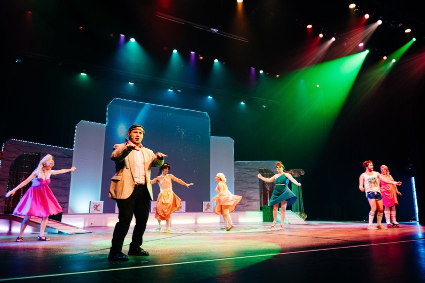 Pittsburg Community Theatre performers rehearse on Tuesday for their upcoming production of Xanadu this weekend.
