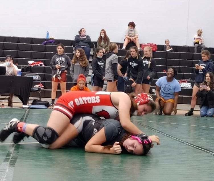 Kaylee Easter takes on Carley Nicholas from Jacksonville Orange Park at the Ponte Vedra Girls Round Robin tournament Dec. 12. Nicholas was ranked fourth in the state at 147 pounds, and Easter pinned her in the second period.