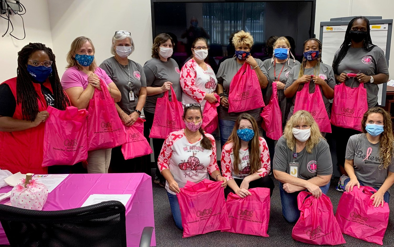 The staff at the county health department all celebrated Breast Cancer Awareness Month