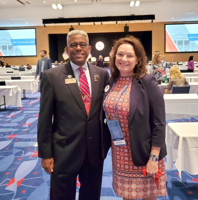 Kristy Banks stands with former South Florida congressman retired Army Lt. Col Allen West.