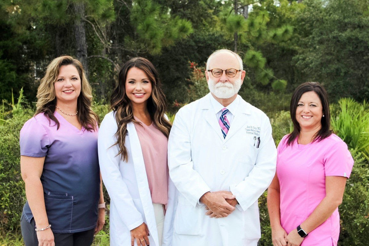Staffing the new Chipola Medical Associates, LLC – Port St. Joe medical practice are, from left, Kim Nobles, LPN; Brittany McCroan, APRN; Joe H. Gay, MD; and Dusty Griffin, RN.