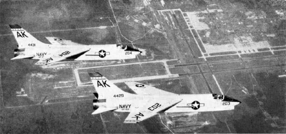 U.S. Navy F8U-1 Crusader fighters from Fighter Squadron VF-62 Boomerangs, Carrier Air Group 10 (CVG-10), over NAS Cecil Field, Florida