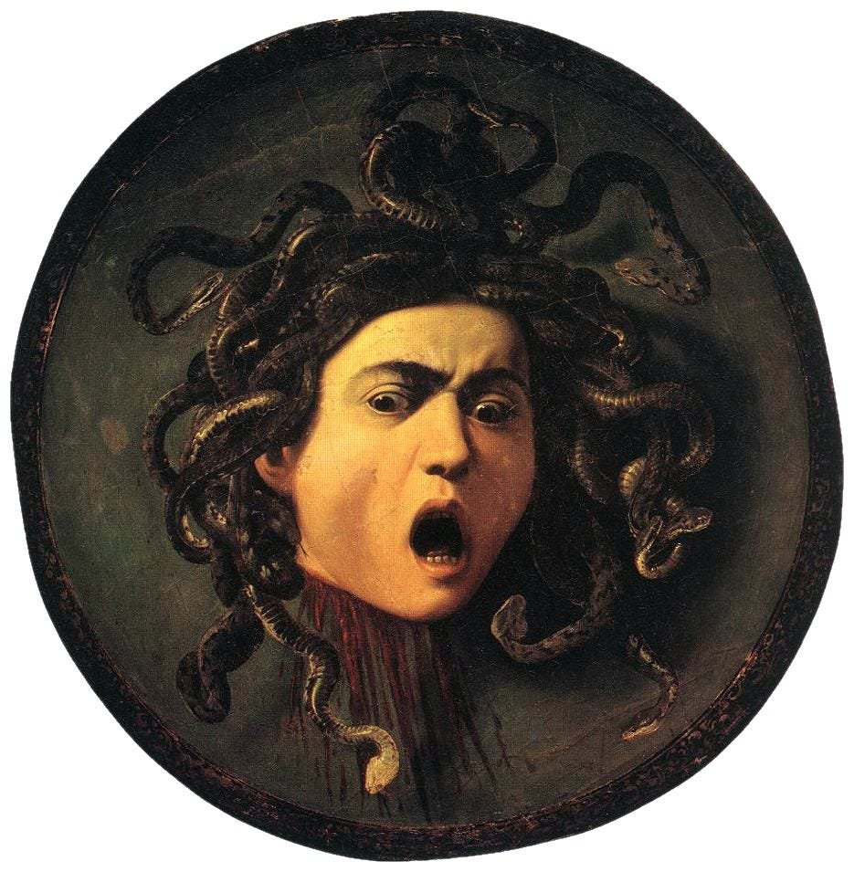Medusa, Caravaggio, after 1590; Uffizi Museum, Florence, Italy